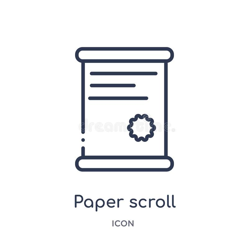 Paper scroll icon from museum outline collection. Thin line paper scroll icon isolated on white background royalty free illustration