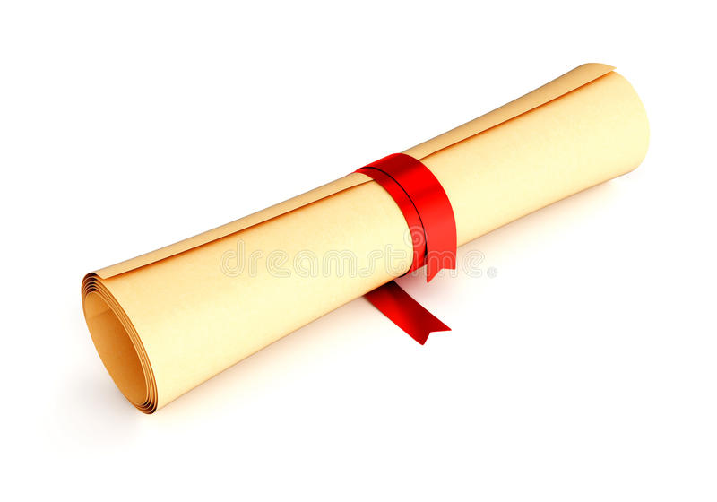 Paper scroll with red ribbon. Diploma, certificate, graduation document or letter - paper scroll with red ribbon isolated on white background stock images