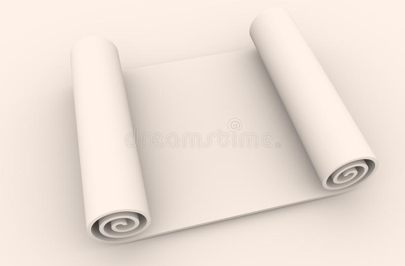Paper scroll on white background. Abstract empty document 3D illustration royalty free stock photography