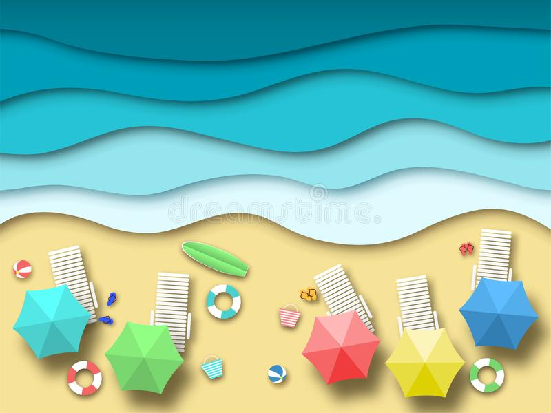 Paper sea beach. Summer holiday landscape with sand, ocean and sun, summertime relaxation 3d origami. Paper art vector. Relax drawing top view background vector illustration