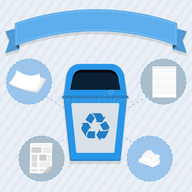 Paper selective collection. Blue trash for the selective collection of paper royalty free illustration