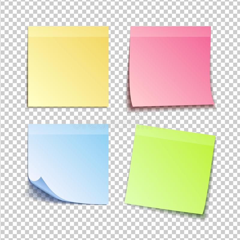 Isolated colorfull sticky notes, vector illustration royalty free illustration