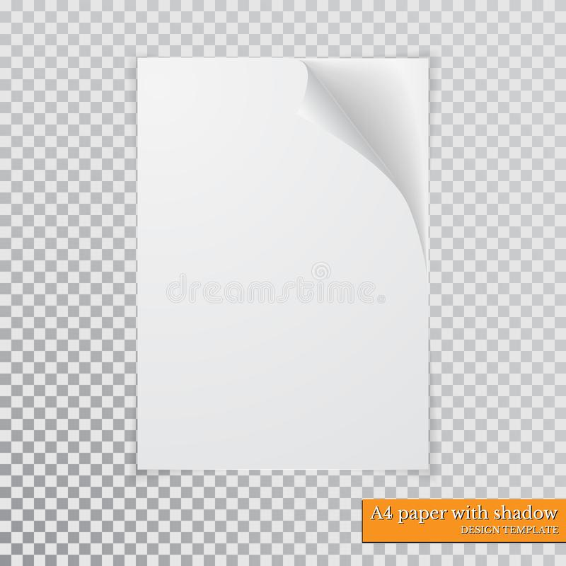 A4 Paper With Shadow Design Template, Vector Stock Vector ...