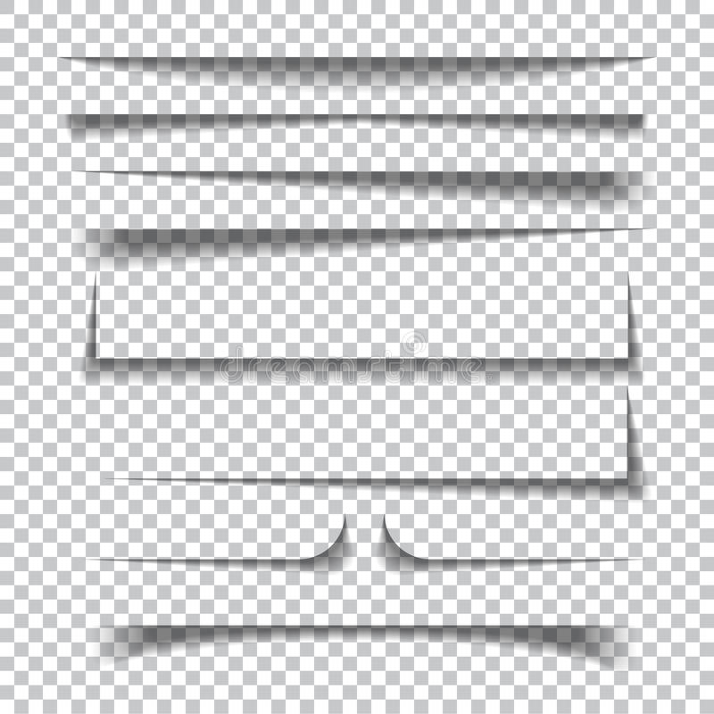 Paper shadow effects on transparent checkered background stock illustration