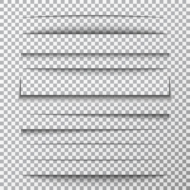 Paper shadows set on transparent background. Page divider with shadows. Realistic paper shadow line effect on checkered stock illustration