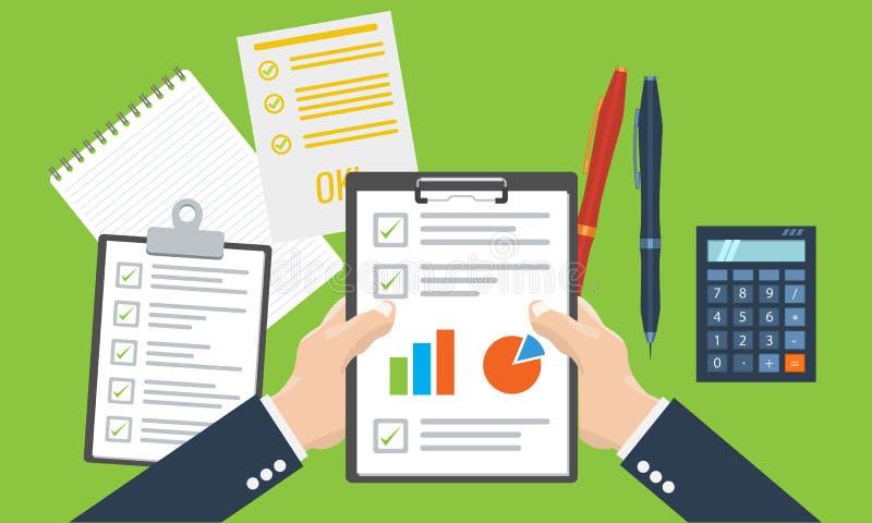 Paper sheet, hands, magnifier, paperwork, consultant, business adviser financial audit stock illustration