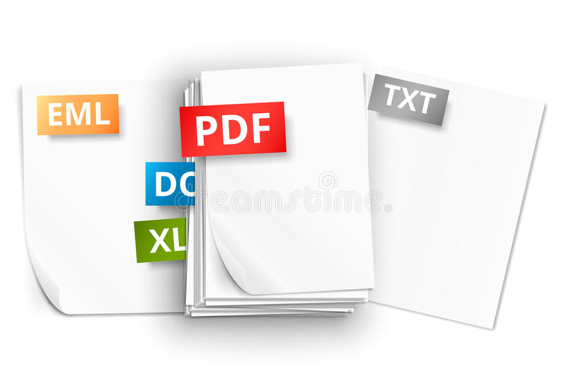 Paper sheet icons. Big stack of white paper sheets and scattered pages with file extension icons royalty free illustration