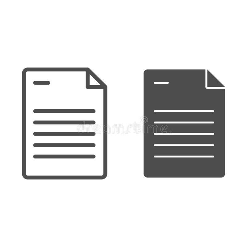 Paper sheet line and glyph icon. Document vector illustration isolated on white. List outline style design, designed for. Web and app. Eps 10 vector illustration