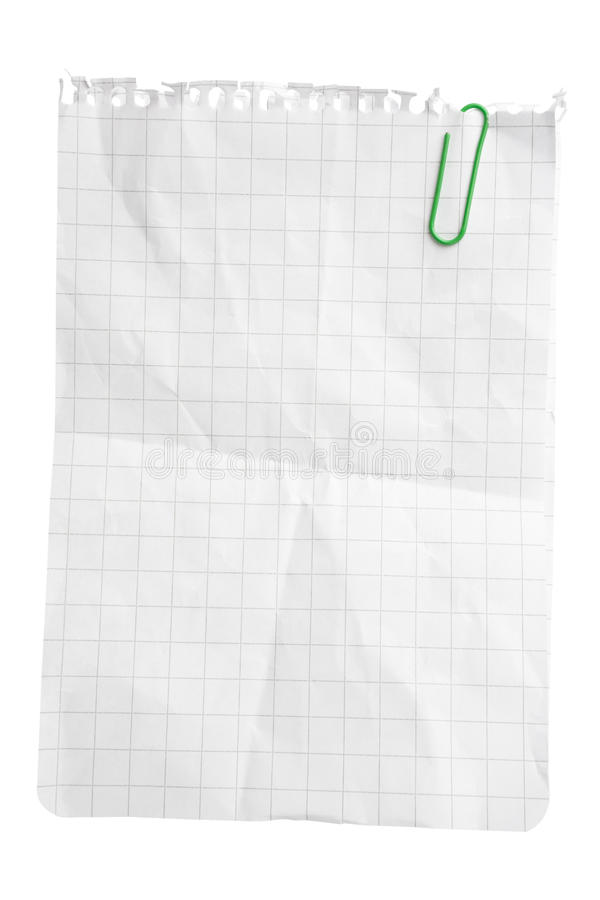 Paper Sheet with Paper Clip royalty free stock photo