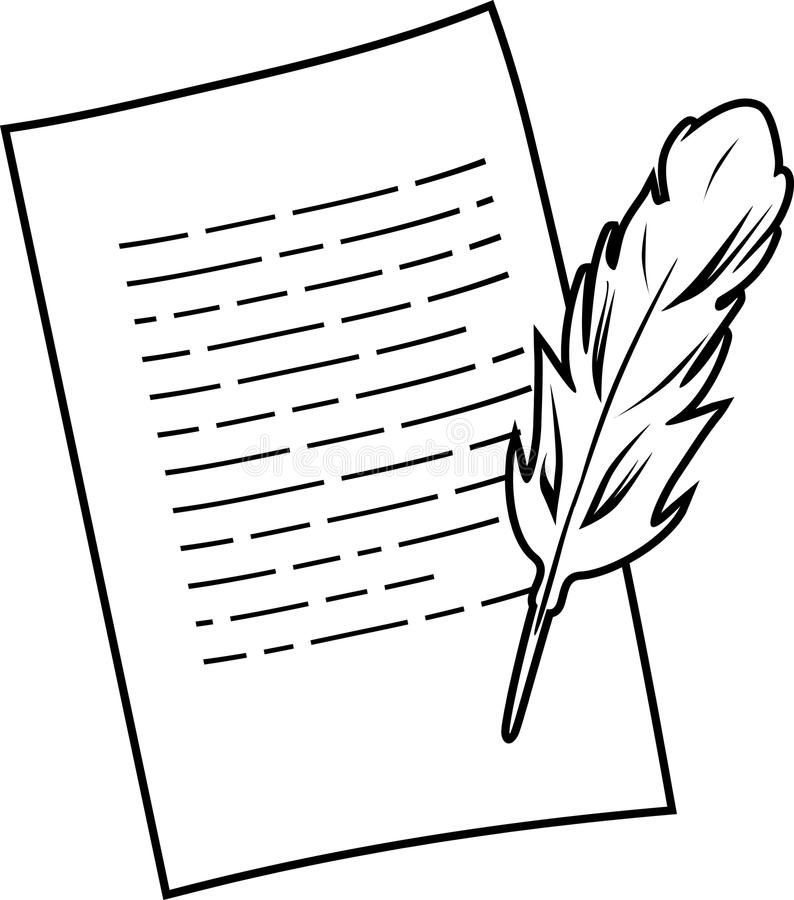 Paper sheet and pen. Black and white drawing royalty free stock images