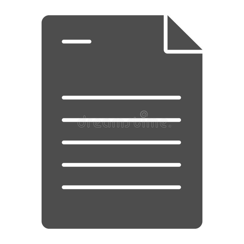 Paper sheet solid icon. Document vector illustration isolated on white. List glyph style design, designed for web and. App. Eps 10 royalty free illustration