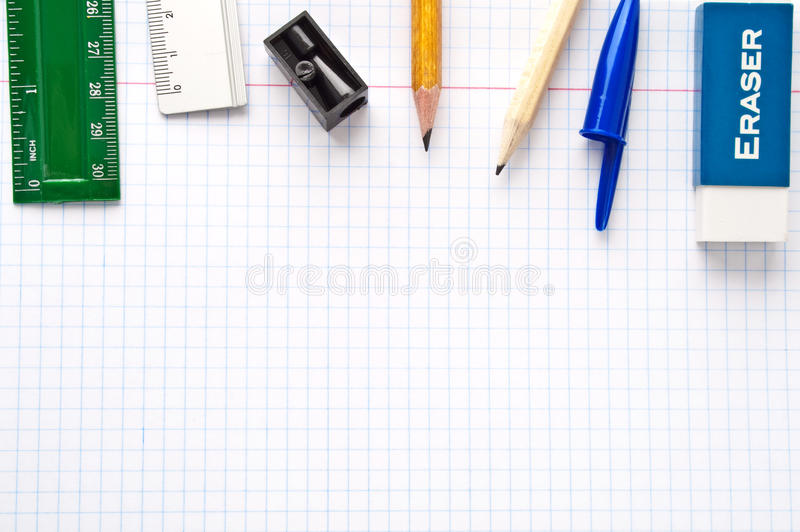 Paper sheet with stationery collection. Paper sheet with office stationery collection stock image