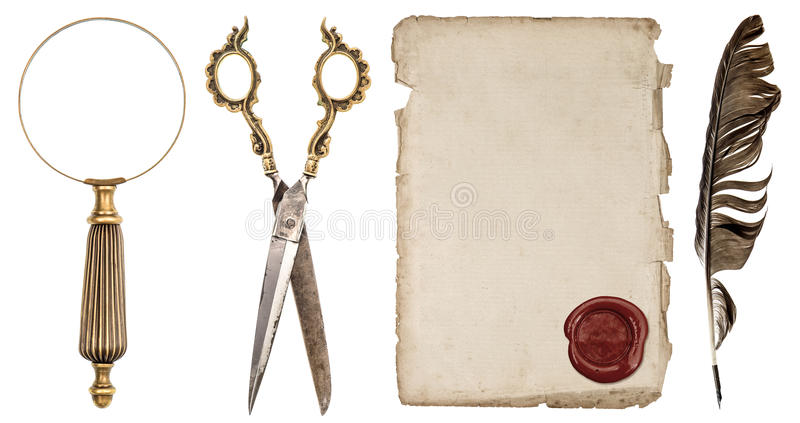 Paper sheet with wax seal, ink feather pen, loupe and scissors. Paper sheet with wax seal, ink feather pen, magnifying glass and scissors isolated on white stock images