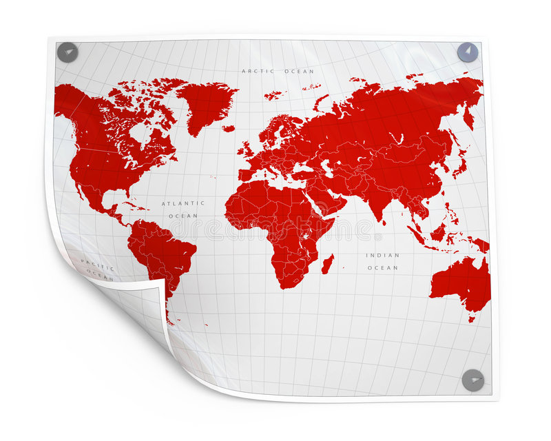 Paper sheet with world map royalty free illustration