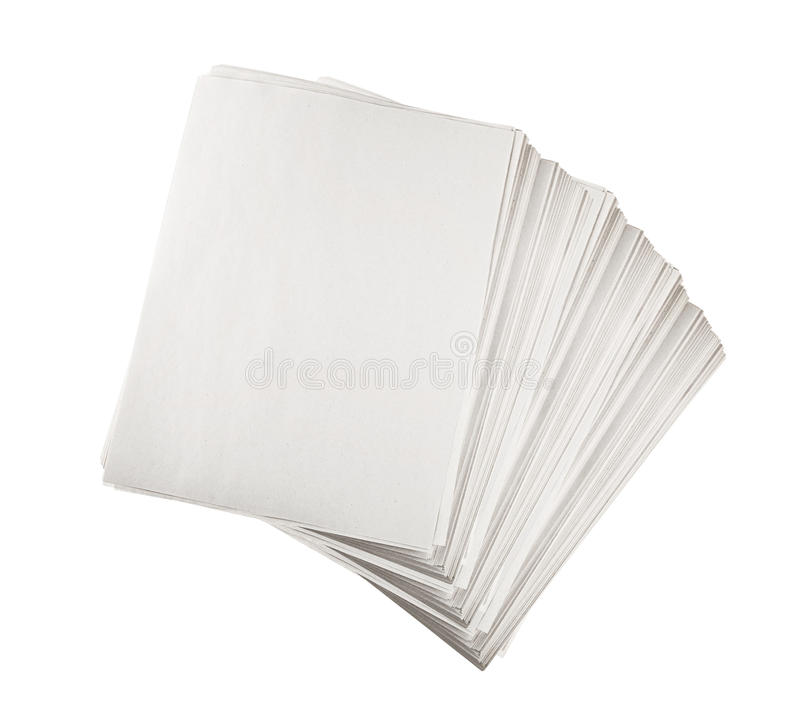Paper sheets. Pile of paper sheets on white background royalty free stock photo