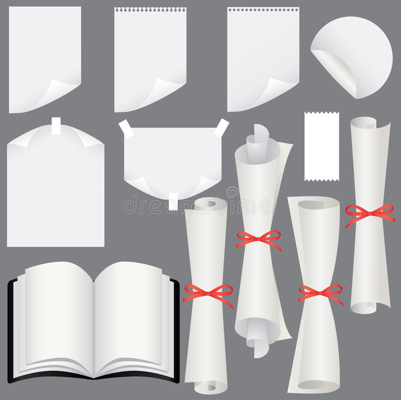 Download Paper Sheets, Scrolls  And Book Set Stock Vector - Illustration: 9055340