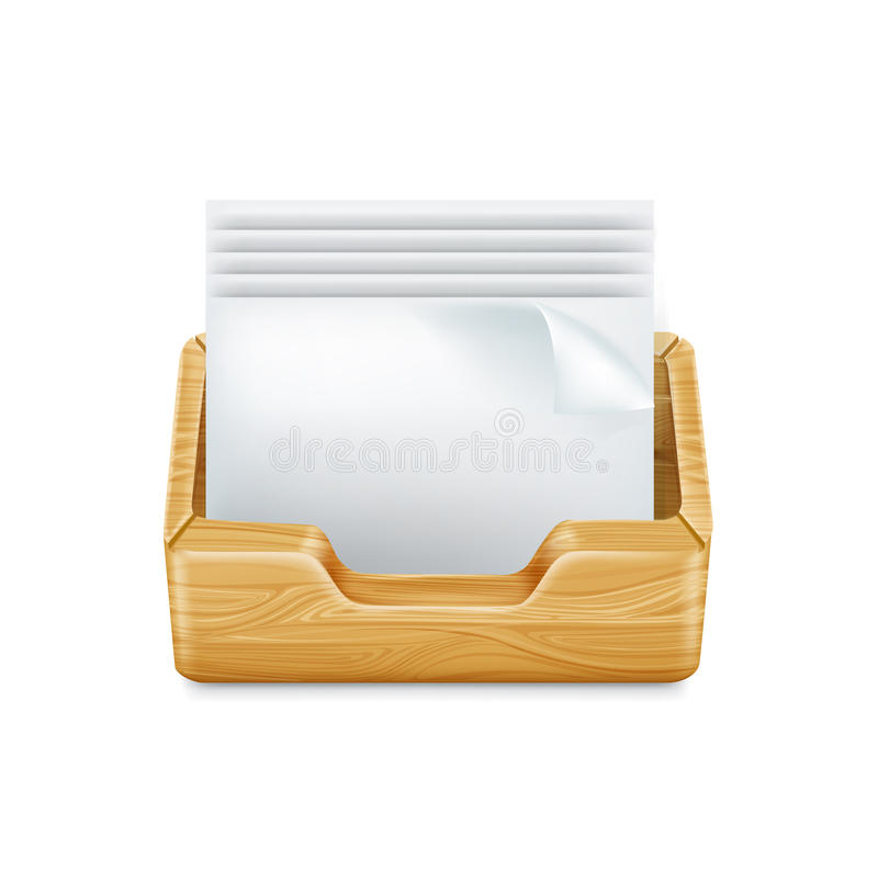 Paper sheets and wooden drawer isolated. On white royalty free illustration