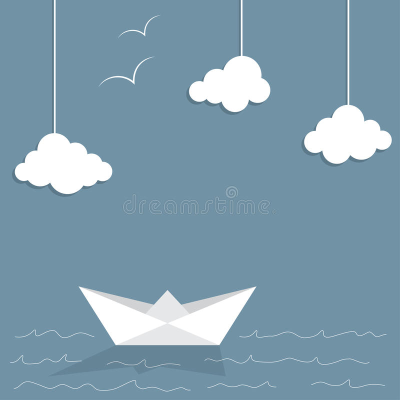 paper ship vektor illustrationer