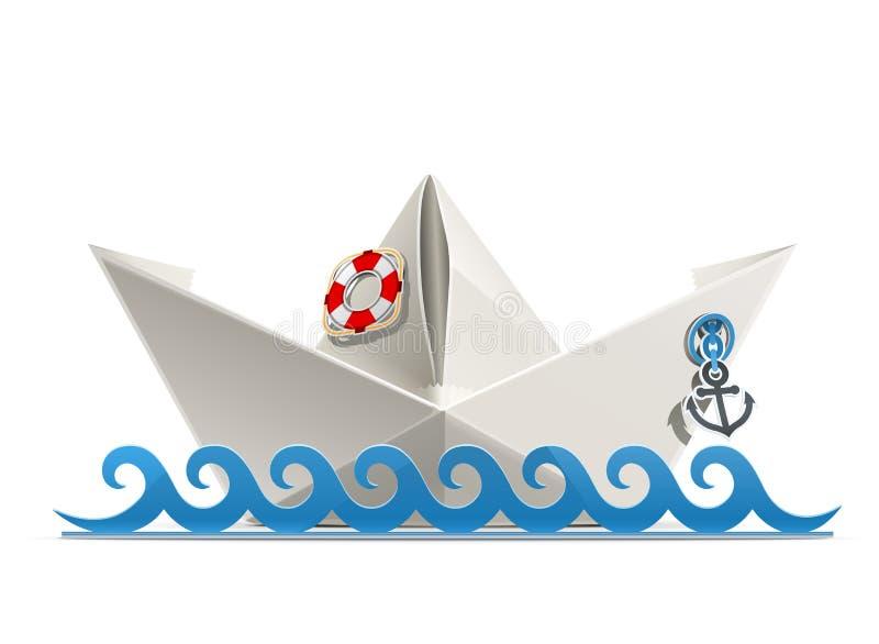 Paper ship origami stock illustration