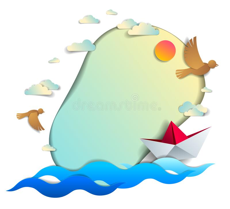 Paper ship swimming in the sea waves with beautiful beach and palms, frame or border with copy space, origami toy boat floating in. The ocean, scenic seascape vector illustration