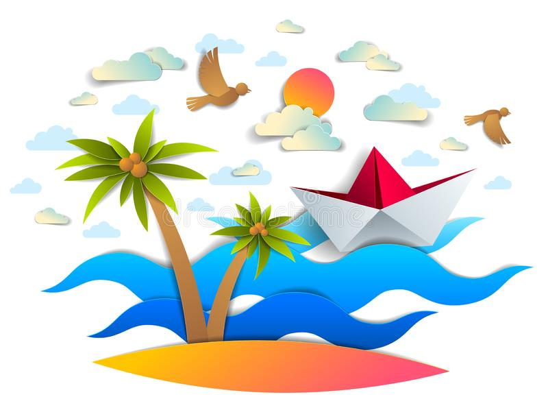 Paper ship swimming in sea waves with beautiful beach and palms, origami folded toy boat floating in the ocean with beautiful. Scenic seascape with birds and vector illustration