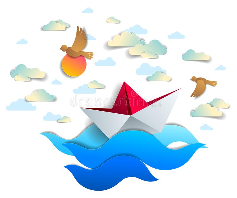Paper ship swimming in sea waves, origami folded toy boat floating in the ocean with beautiful scenic seascape with birds and vector illustration