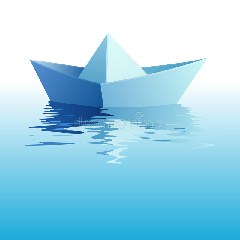 Download Paper Ship On Water. Vector Illustration Royalty Free Stock Images - Image: 21899229
