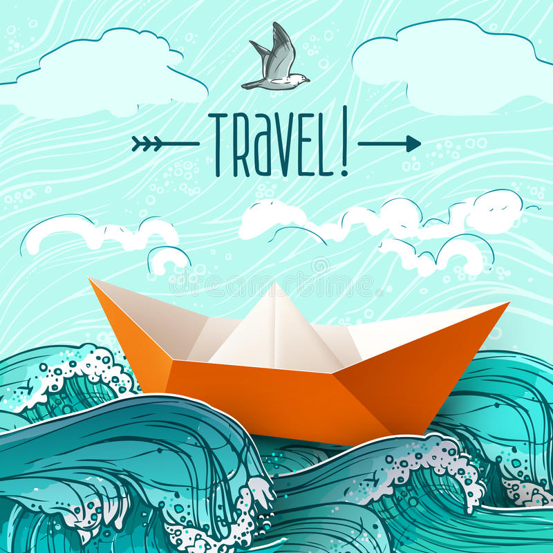 Paper Ship On Waves vector illustration