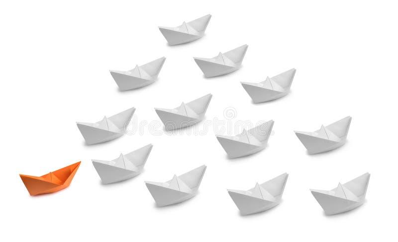 Paper ships as the concept stock photos