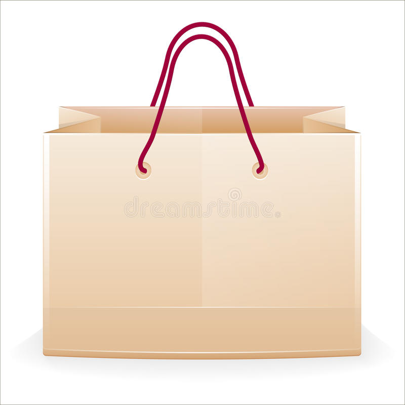 Paper shopping bag. 3d glow paper shopping bag vector illustration
