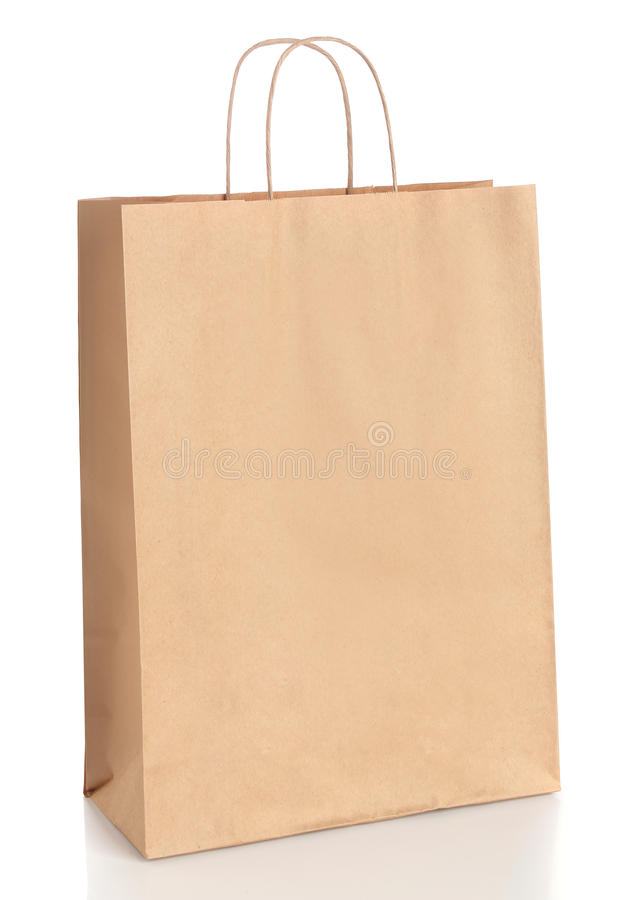 Download Paper Shopping Bag With Handles Over White Royalty Free Stock Image - Image: 31420736