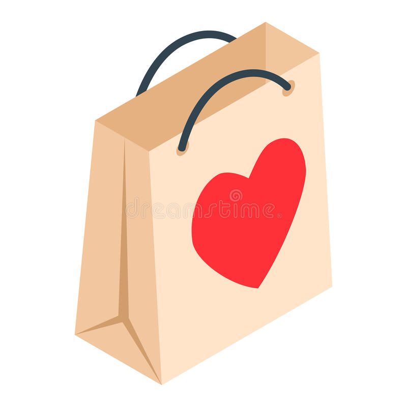 Paper shopping bag with heart isometric 3d icon royalty free illustration
