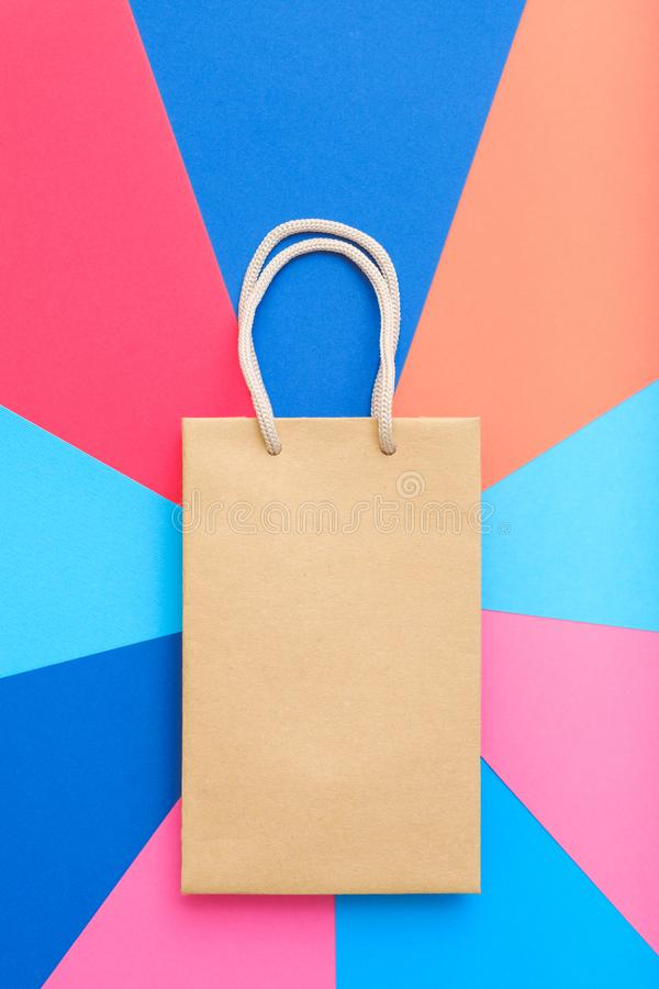 Paper shopping bag multicolor background buying royalty free stock image