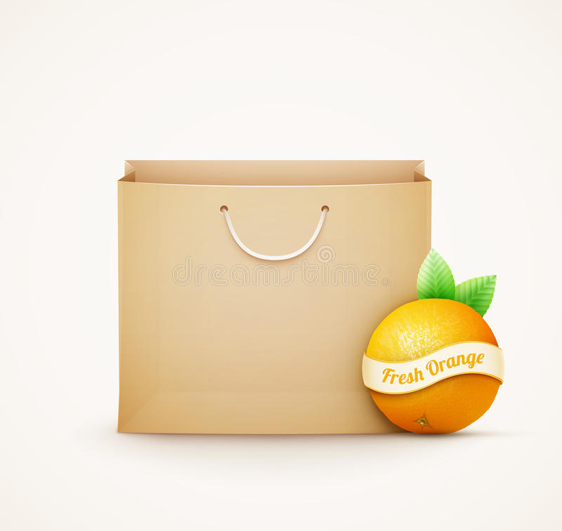 Paper shopping bag with orange vector illustration