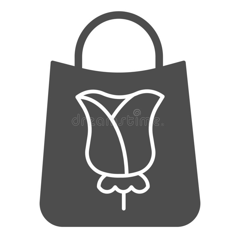 Paper shopping bag with rose solid icon. Flower on package vector illustration isolated on white. Gift bag glyph style. Design, designed for web and app. Eps 10 stock illustration