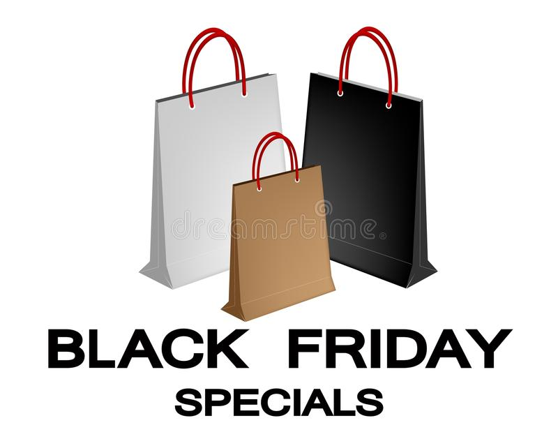 Download Paper Shopping Bags For Black Friday Special Stock Vector - Image: 32579416