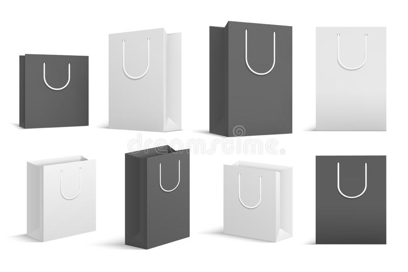 Paper shopping bags. Black white blank cardboard package. Close up shopping bag vector mockups. Illustration of bag package and packet, cardboard packaging for stock illustration