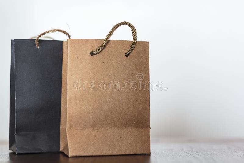 Paper shopping bags with copy space. Commercial business, retail sale concept. Paper shopping bags with mockup space. Commercial business, retail sale concept stock photography
