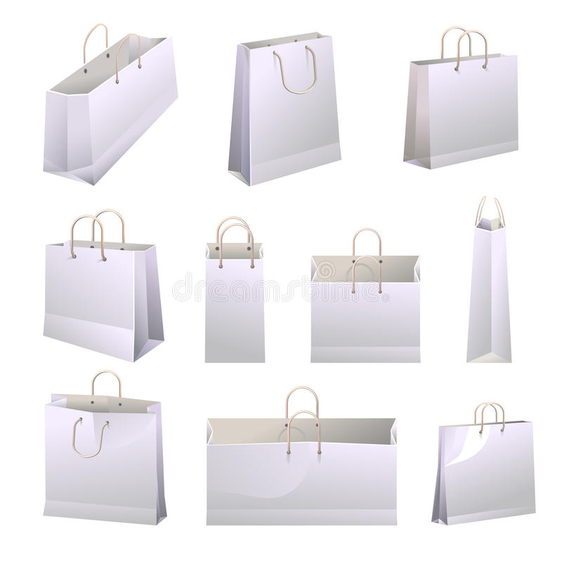 Paper shopping bags with handles collections on white. Vector poster royalty free illustration