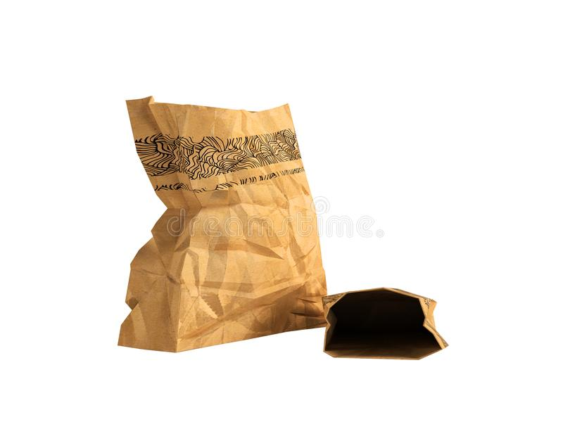Paper shopping bags opened for sale in a supermarket two 3d rend. Heavy paper bags of coated paper are suitable for packaging various purchases in stores royalty free illustration