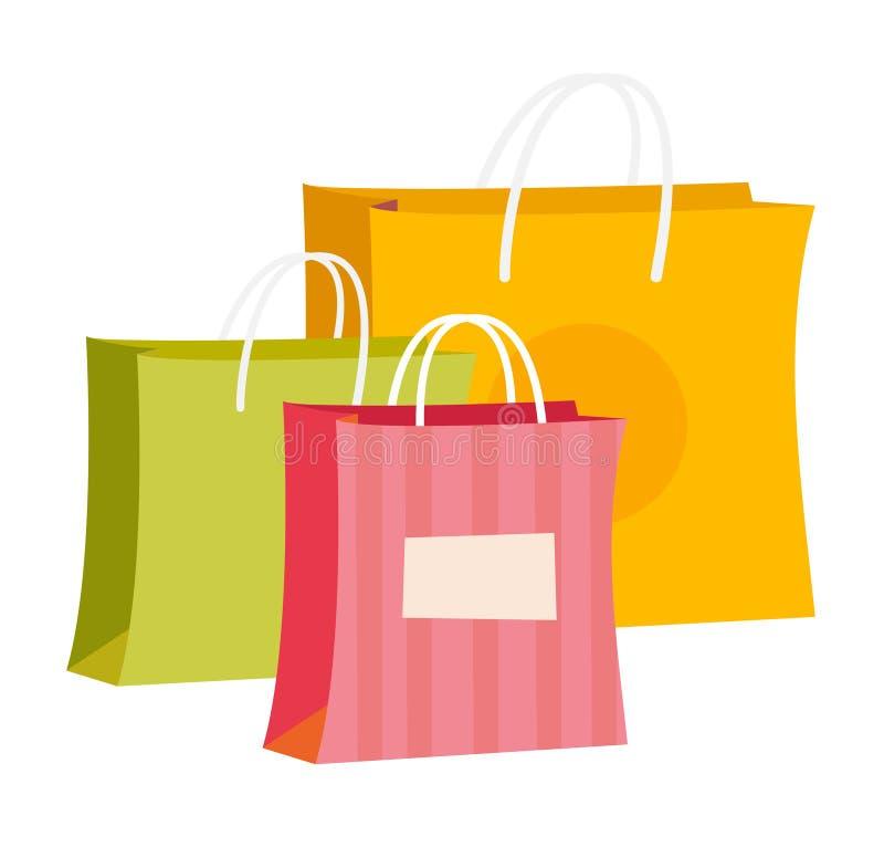Paper shopping bags vector cartoon illustration. vector illustration