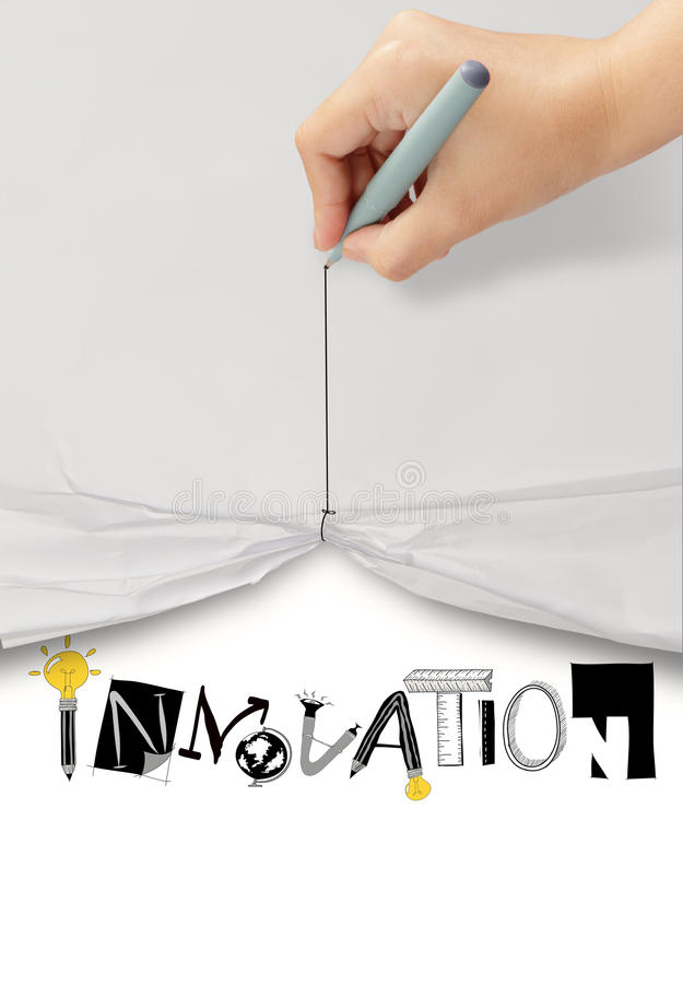 Paper show graphic design word INNOVATION. Hand draw rope open wrinkled paper show graphic design word INNOVATION as concept stock photography