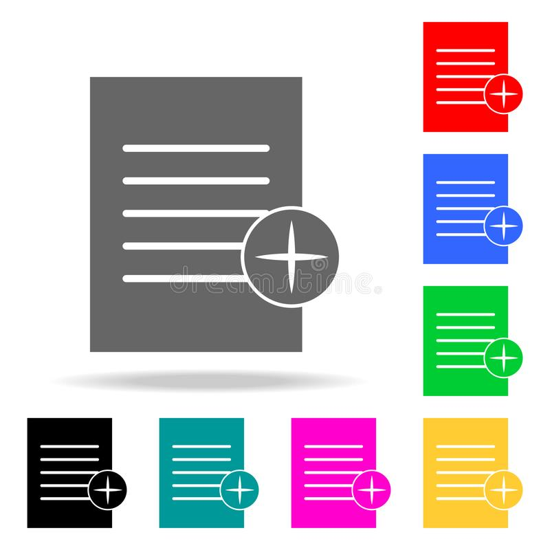paper with the sign of addition icons. Elements of human web colored icons. Premium quality graphic design icon. Simple icon for w royalty free illustration