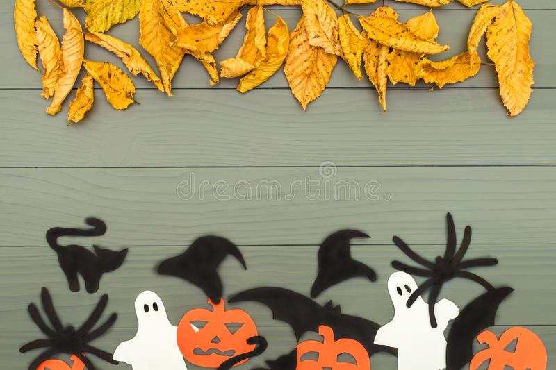 Paper silhouettes of different Halloween characters stock photos