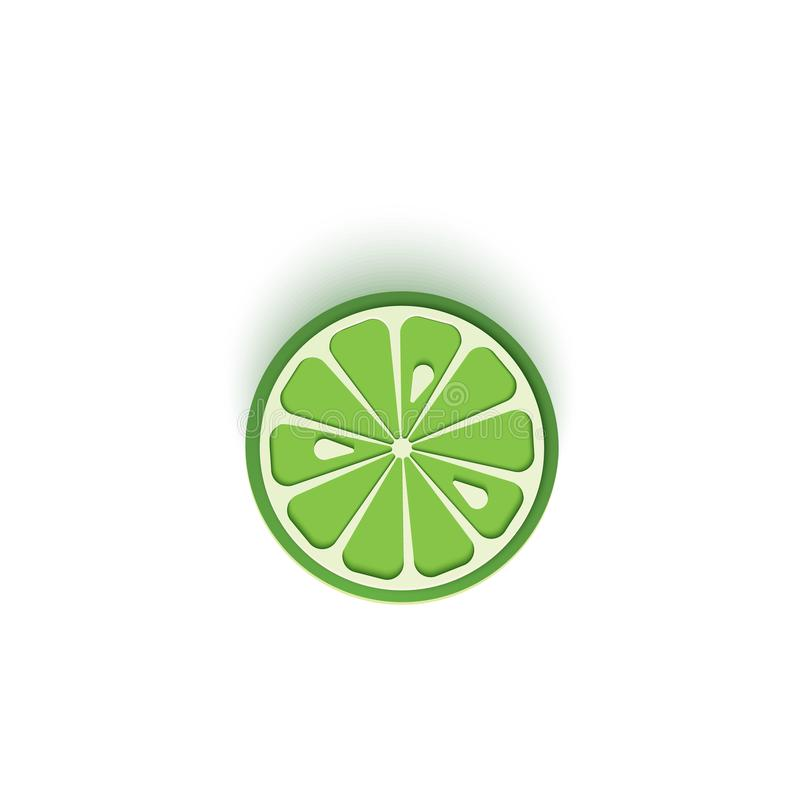 The paper is sliced with cut lime citrus, an excellent design for any purpose. Summer, sweet green lemon juicy food stock illustration