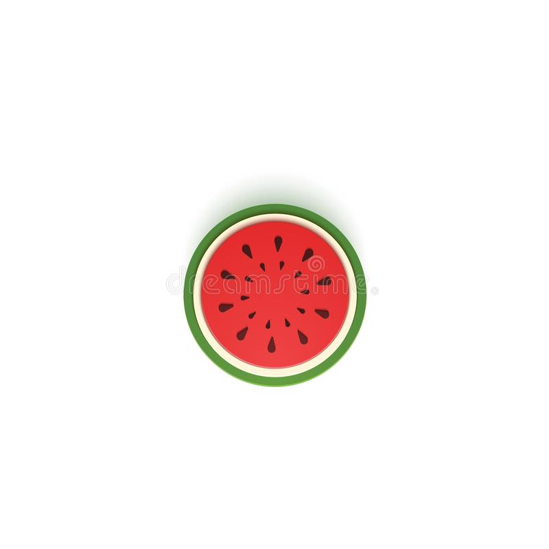 The paper is sliced with cut watermelon, an excellent design for any purpose. Summer, sweet melon juicy food in paper royalty free illustration