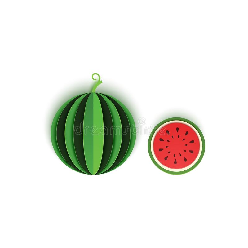 The paper is sliced with whole and cut watermelon berry, an excellent design for any purpose. Summer, sweet green melon stock illustration