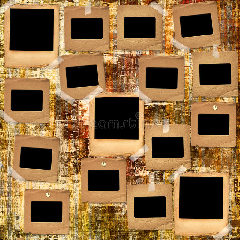 Paper slides with old torn posters. On the grunge abstract background royalty free stock photos