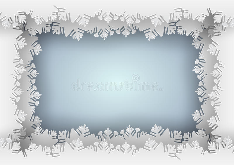 download paper snowflake blue border on blue background stock vector illustration of greeting borders