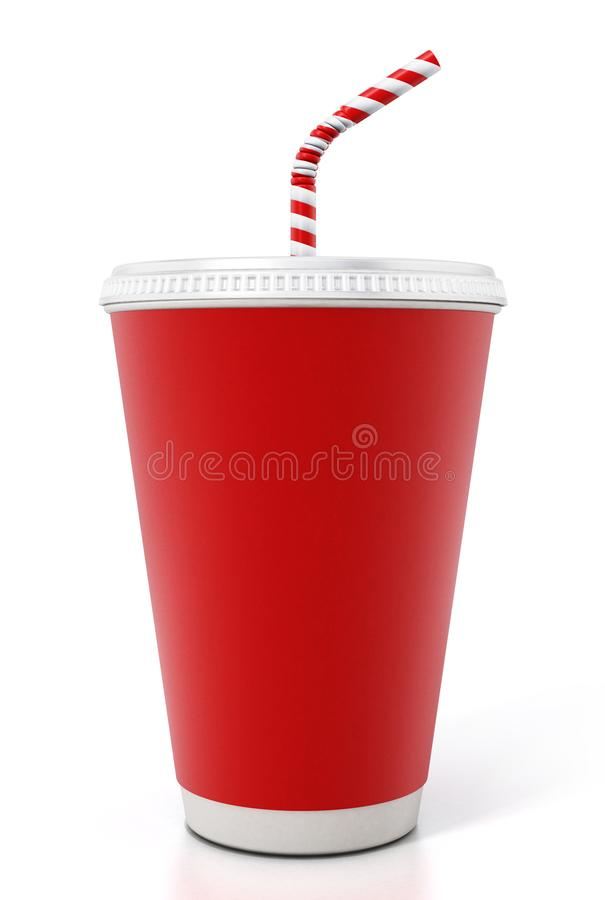 Paper soda cup isolated on white background. 3D illustration.  royalty free stock image